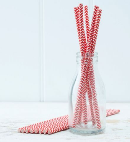 Red & White Paper Drinking Straws - pack of 25